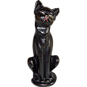 Hubbley Cat Iron Sitting Cat Doorstop #462 in Black Paint