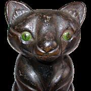 Vintage Cast Iron Black Cat Doorstop Round Body