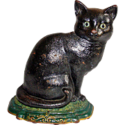 Vintage Cast Iron Black Cat Doorstop Flatback Glass Eyes