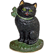 Vintage Cast Iron Black Cat Doorstop with Bow Flat Back