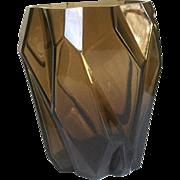 "Rare Art Deco Ruba Rombic Glass Vase Topaz Vase 9 1/2"" Large"