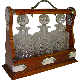 English Oak Tantalus Silver Mounts 3 Cut Glass Decanters and Key