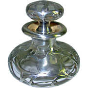 Antique Clear Glass Silver Overlay Perfume Bottle