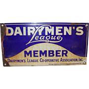 Vintage Advertising Dairymen's League Member Enamel Sign