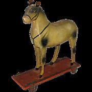 Antique Folk Art Horse Childs Pull Toy Papier Mache 1880's