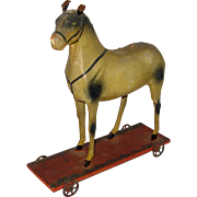 Antique Folk Art Horse Childs Pull Toy Papier Mache 1880's