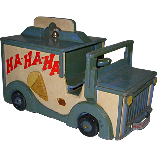 Vintage Folk Art Handmade Ice Cream Truck HA HA HA