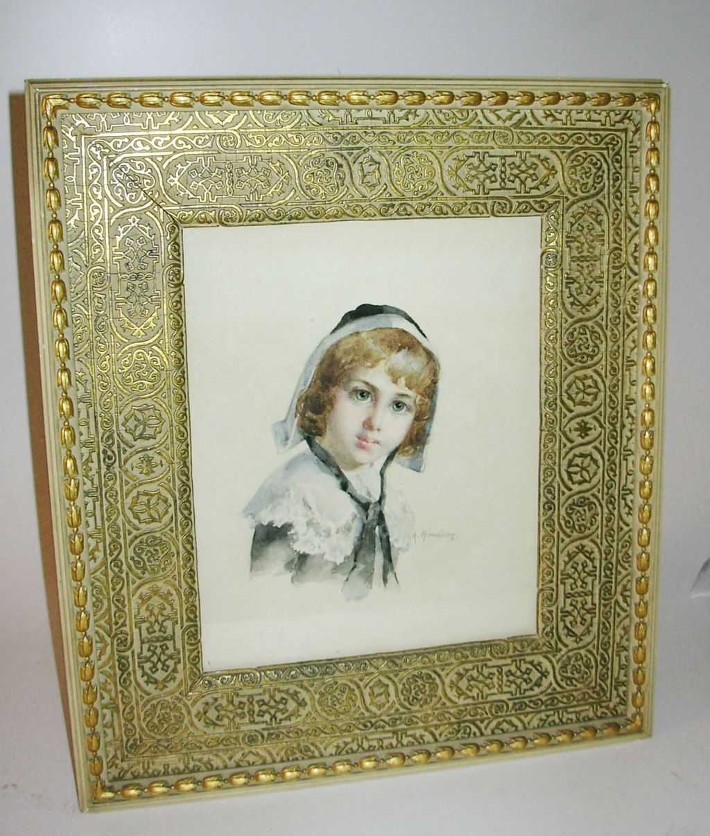 Alice Kerr Hirschberg Framed Watercolor of Young Woman