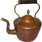 Antique Copper Tea Kettle English 19thc Dove Tailed Jointed