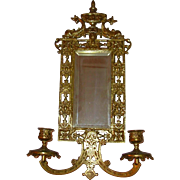 Mirrored Brass 2 Candle Sconces Inset With Mirrors