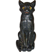 Old Sitting Cat Doorstop with Glass Eyes Cast Iron