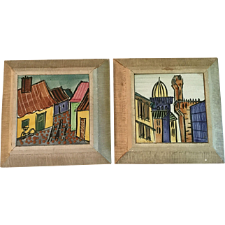 Mid Century Modern Harris G Strong Hand Painted Tile Plaques Pair