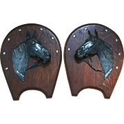 Vintage Equestrian Silver Plated Horse Head Wall Plaques Pair
