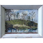 Impressionist Primitive Small Landscape Signed Vito Covelli