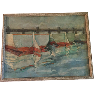 Painting Oil on Canvas Boats at the Dock Signed