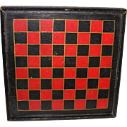 Vintage Primitive Folk Art Checkers or Chess Game Board  Hand Painted