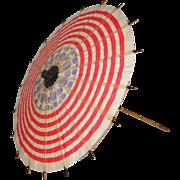 Vintage Red White Blue Flag Paper Patriotic Parade Parasol 1930's