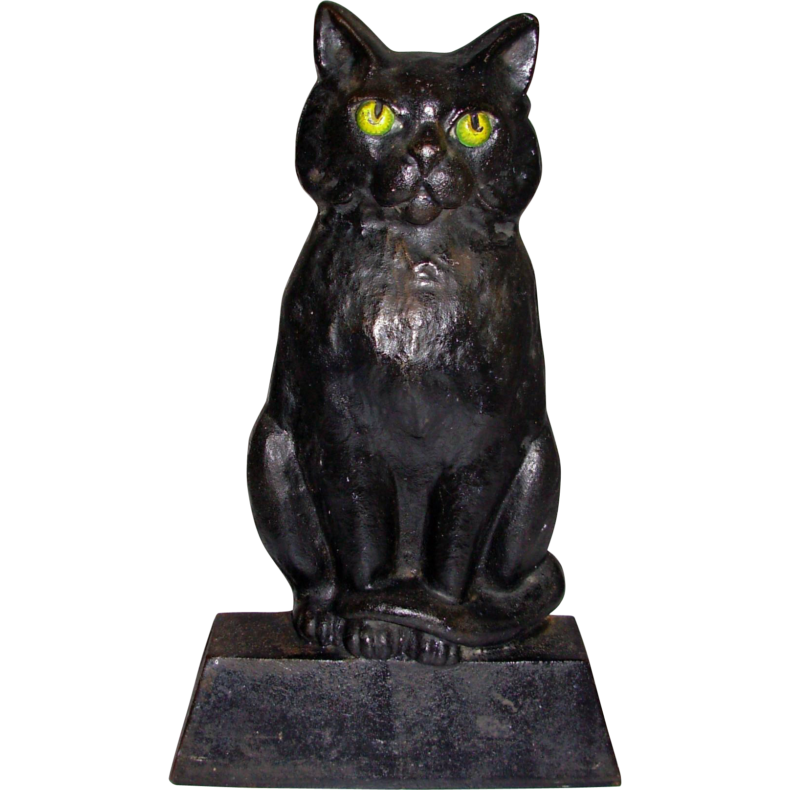 Old Sitting Cat Cast Iron Doorstop Great Paint From