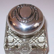 Old 800 Silver Topped Glass Inkwell