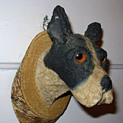 Folk Art Terrier Dog Head with Glass Eyes