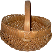 American Primitive Handled Splint Basket Good Size 9""