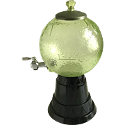 Vintage Lash's California Orangeade Syrup Dispenser Green Globe & Art Deco Black Glass Base