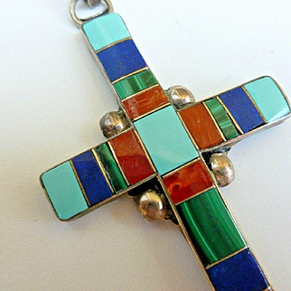 Old Large Colorful Zuni Inlaid Signed Cross Pendant 3""