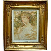 C1900 American Impressionist WC Portrait Painting Woman William R. Allan Listed