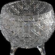 American Brilliant Cut Glass Deep Footed Rose Bowl Circa 1890