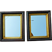 Pair Striking American 19th Century Walnut Mirrors with Gold Liners