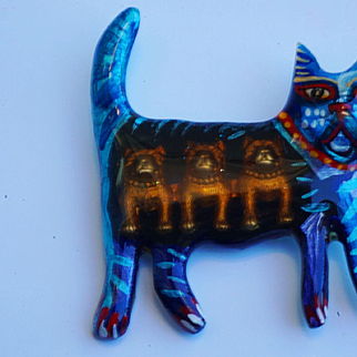 Mary Delave Canines for Lunch Cat Pin