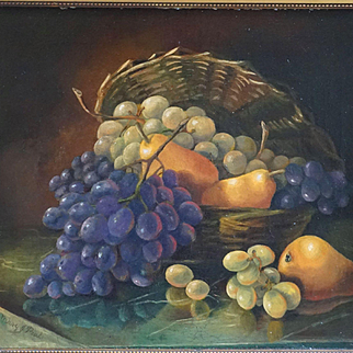Mary Jane Peale 1827-1902 Still Life of Fruit in Basket Oil On Canvas Painting
