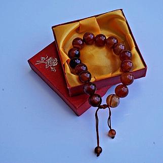 Vintage Chinese Carnelian Large Bead Bracelet w Original Box