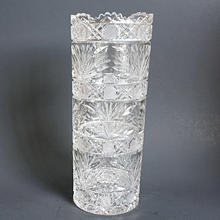 American Brilliant Period Cut Glass Cylindrical Tall Vase