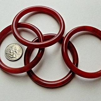 Stunning Set of 4 Matched Tomato Red Carnelian Bangle Bracelets for Small Wrist