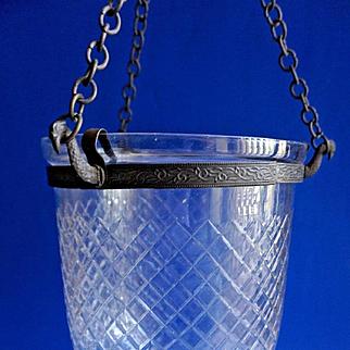 Victorian Hanging Hall Clear Glass Lamp Lantern w/ Cut Decoration