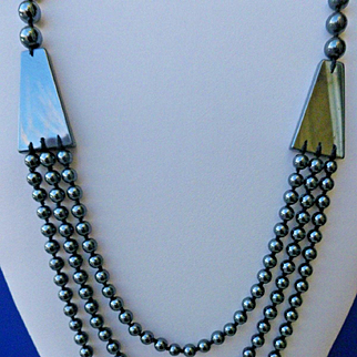 "Triple Strand 34"" HEMATITE Necklace Knotted 160 Grams"