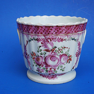 Rare Circa 1820 Small Pearlware Pink Flower Pot Staffordshire