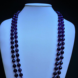 "Stunning 1920's Amethyst / Purple Peking Glass Necklace 66"" Long"