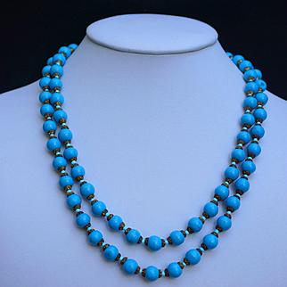 "Blue Peking Glass Necklace 41"" Long"