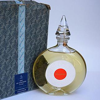 Large Sealed Vintage Bottle of Shalimar Eau De Cologne Guerlain Paris w/ Original Box