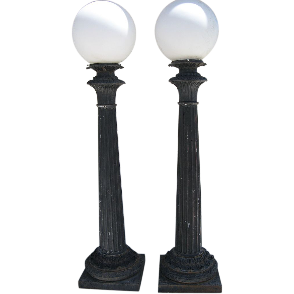 Pair of Cast Iron Post Building Lights by Union Metal Co. Ohio Architectural