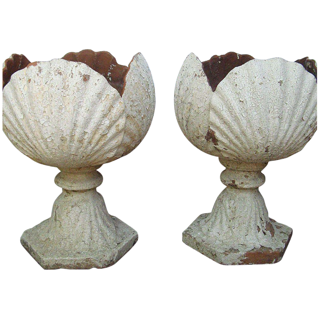 Pair English Terra Cotta Garden Urns Shell Motif