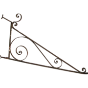 19th Century Wrought Iron Sign Wall Bracket.