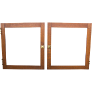 Pair of Small Square Oak Arts and Crafts Cabinet Doors
