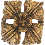 18th Century French Wonderful Carved Fragment Square Rosette