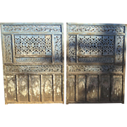 Pair of Carved and Painted Panels Blue White Headboard