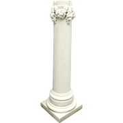 Pair Carved White Marble Columns with Swag Motif