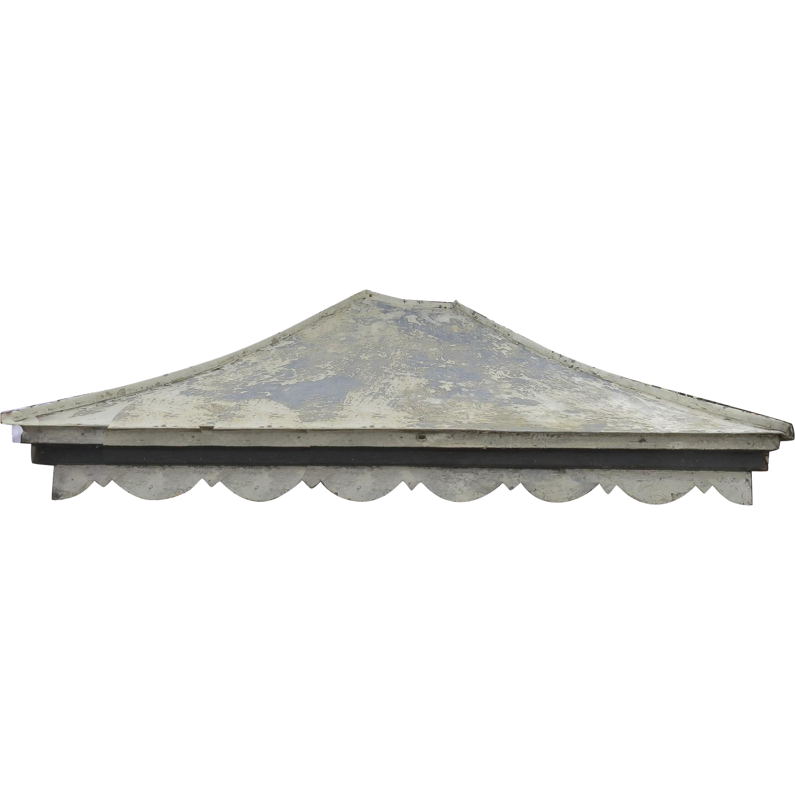 Vintage Tin Painted Entrance Door Awning Canopy with Scalloped Edge  Black Tulip Antiques Ltd. | Ruby Lane  sc 1 st  Ruby Lane & Vintage Tin Painted Entrance Door Awning Canopy with Scalloped ...