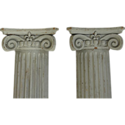 Pair of Architectural Ionic Fluted Columns with  Fleur de Lis and Scroll Motif